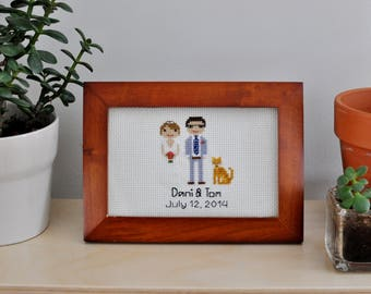 3 Character Wedding Portrait - Custom Cross Stitch