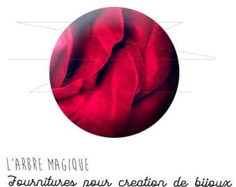 Cabochon fancy 25 mm 1462 ref red rose petals
