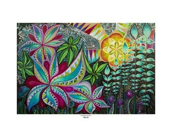 "Art Print - ""Psychedelic Sun Rays"" by Soazik - Limited Edition, Numbered, Signed by Artist"