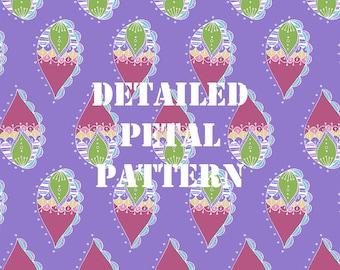 Purple Detailed Petal Pattern Digital Paper