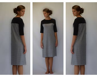 Modest Black and White Striped Casual Dress (optional lengths)