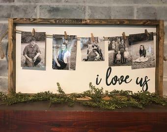 I love us photo holder, farmhouse sign, rustic sign, framed sign, picture holder, rustic photo display