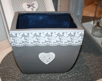 large gray and white lace and shabby heart terracotta pot warmer