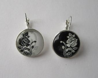 Earrings flowers (reverse), 20mm cabochon