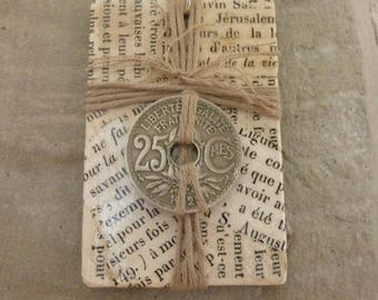 Pendant Bible, French antique paper, twine