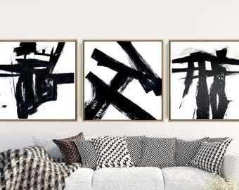 Triptych Wall Art, Abstract Art, Set Of 3 Prints, Black And White Prints