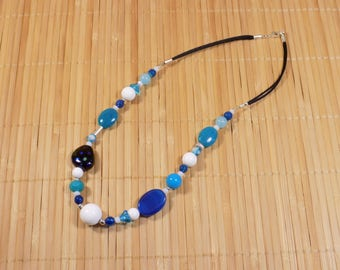 Blue and white jade, agate and clam with 925 sterling silver necklace