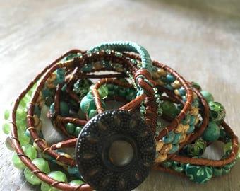 Blue Lagoon beaded wrap bracelet.  Boho style wrap bracelet. Leather wrap  bracelet.