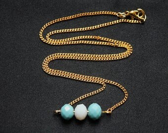 Trio of faceted green and white necklace
