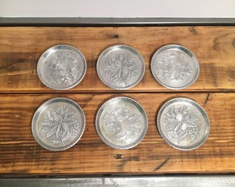 6 Vintage Everlast Forged Aluminum Coasters