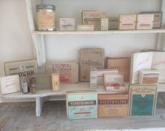 Collection of old French medicine packages (25 pieces, also sold separately)