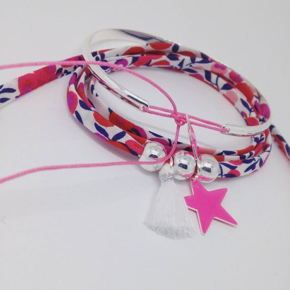 Sweet love Liberty per charm. Bracelet adult / teen woman in fabric liberty by Palilo