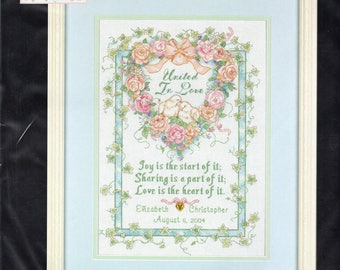 United In Love Wedding Record Counted Cross Stitch Kit