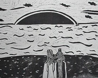 Linocut - horse and wife on the beach - a gift for every occasion