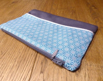 Pouch or make-up cotton lined blue and silver on order