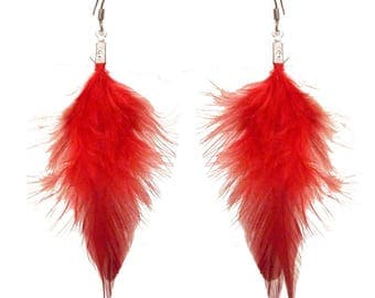 Dangling earrings very light red feathers
