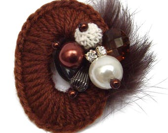 Chocolate brown ring oval beads wool and white rhinestone brooch