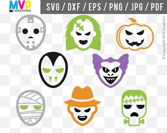 Halloween Monsters SVG, Halloween Cut Files, Halloween Classic Monsters Vector Files, Frankenstein SVG, Jason, Freddy SVG, Mummy, mvp-03