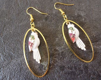 Earrings white Parrot tropical jungle gold