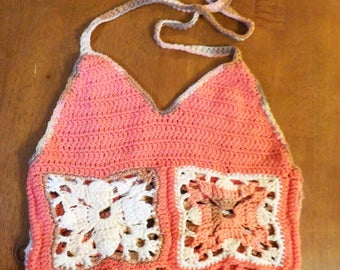 Crochet Festival Top, Bohemian Halter, Cotton Yarn, Handmade, Supportive, Adjustable Size, For Her, Pink Crop Top, Sexy Belly Shirt