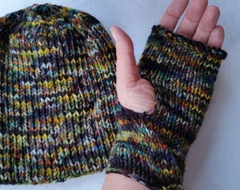 CAP, WRIST WARMERS, hand-knit wool, hand dyed yarn, hand-knit in a classic beanie, watch cap, all wool, great gift