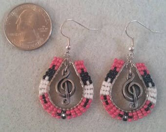 Coral treble clef earrings