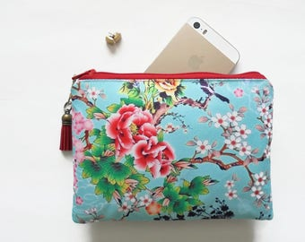 Mum gifts, sewing Pouch, chinoiserie, Cherry blossom bag, travel wallet, small zipper bag, wallet pouch.