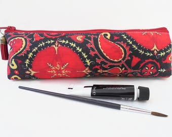 Art gifts, pencil case pouch, paisley pattern, antique style paisley, pencil pouch, brush bag, cosmetic pouch.