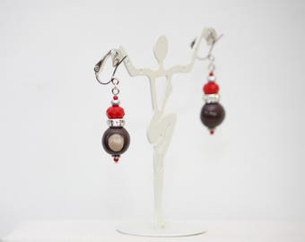 Red and Gray College Team Colors Clip On Dangle Earrings, with Handmade Clay Buckeyes Seeds.
