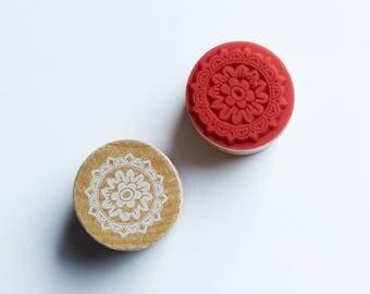 wood circle stamp holder 3 cm * 2 pattern