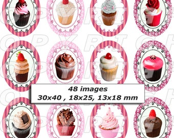 48 digital images for cabochon oval Cupcake oval double beige brown red pink theme