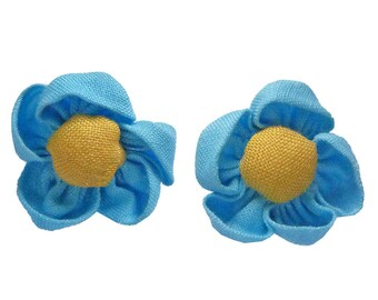 lot 2 3.5 cm Blue and yellow fabric flower hot - set no. 160707021