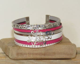 """Cuff Bracelet """"azalea"""" leather with glitter, studded Suede, white, Fuchsia and silver"""