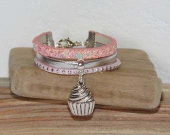 Pink girl Cuff Bracelet, pastel, silver, leather, glitter, suede, cake charm