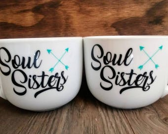 Soul Sisters Mug Set // Mugs for Her // Friendship Mugs