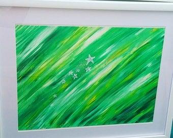 Green Acrylic painting, Glitter Stars