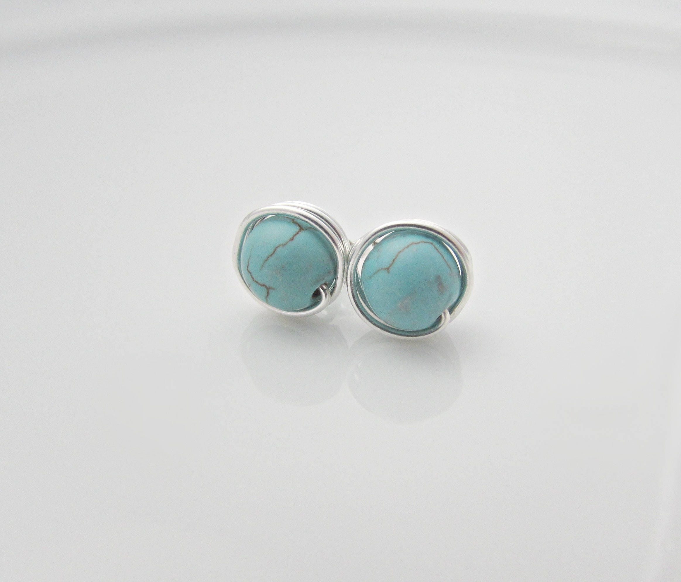 bling arrival earrings crown rhodium jewelry oval p turquoise reconstituted new plated stud