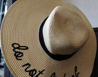 Do not Disturb embroidered womens straw beach floppy hat
