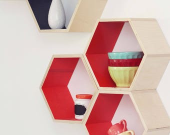 Shop small sale! 15% off. Hexagon Floating Shelf (set of 3)