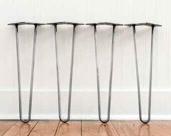 "Set of 4 Hairpin Legs 2-Rod 4"" - 32"" Raw Steel Metal Table Legs"