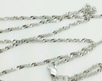 "10k Solid White Gold Diamond Cut Singapore Necklace Pendant Chain 16""-24"" 1.5mm"