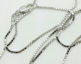 """10k Solid White Gold Box Link Necklace Pendant Chain 16"""" - 30"""" 1.0mm"""