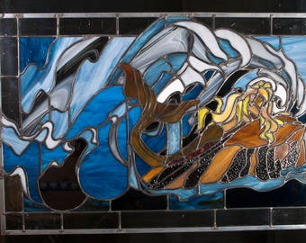 Beautifully Hand-Crafted Mermaid Stained Glass Panel