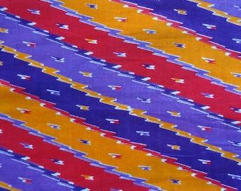 fabric, printed viscose multicolored lines.