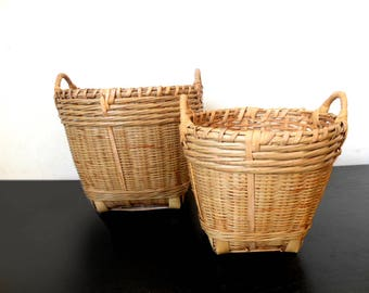 Vintage Basket Planter Hand Woven Rattan Indoor Planter /french decor/shabby chic/french style/Rustic Boho Jungalow Style
