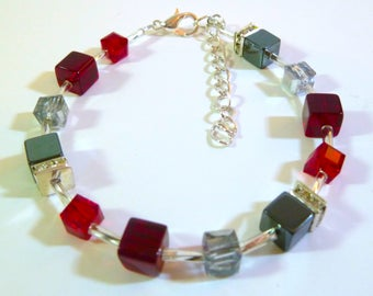 Red Glass Crystal Cube Bead Bracelet