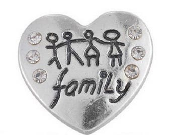 "x 1 ""Family"" 20 mm x 19 mm white Rhinestone Heart snap button"