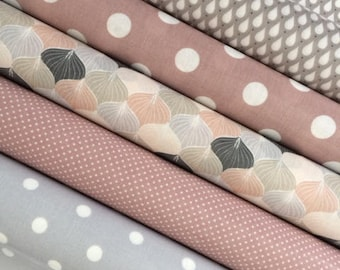 Assortment of 5 coupons waxed canvas tones pastel pink and gray a drops pattern and polka dots