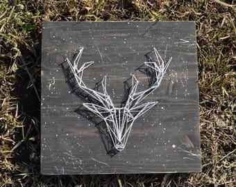Deer geometric wall,String art Deer Head Silhouette,Wall art wood,Home decor,String art animal,Wood deer art Antlers,Deer curly,deer sign