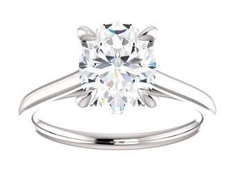 Forever One Moissanite Engagement Ring- Rebecca | oval | solitaire moissanite engagement ring